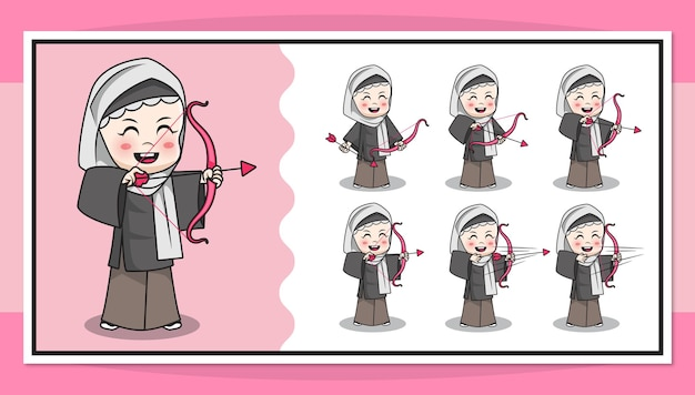 Personagem de desenho animado de uma garota muçulmana fazendo arco e flecha com animação passo a passo