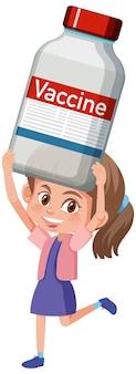 Personagem de desenho animado de uma garota segurando uma vacina covid-19