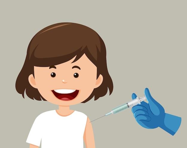 Personagem de desenho animado de uma garota tomando uma vacina