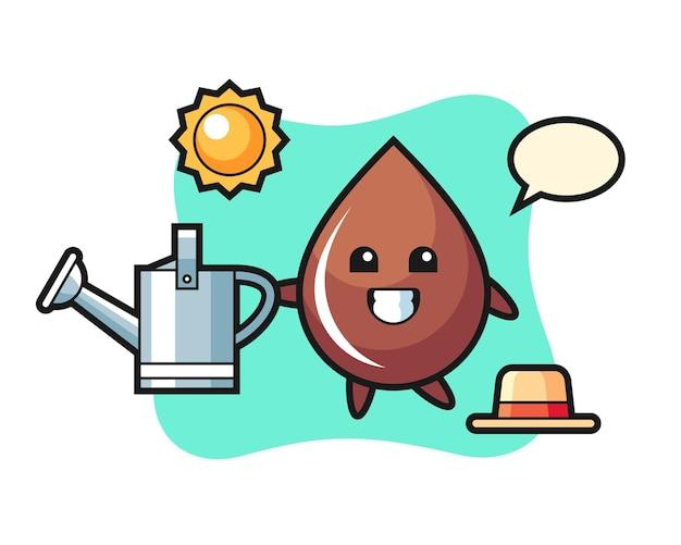 Personagem de desenho animado de uma gota de chocolate segurando um regador, design de estilo fofo para camiseta, adesivo, elemento de logotipo