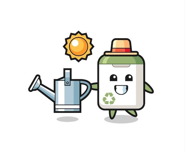 Personagem de desenho animado de uma lata de lixo segurando um regador, design de estilo fofo para camiseta, adesivo, elemento de logotipo