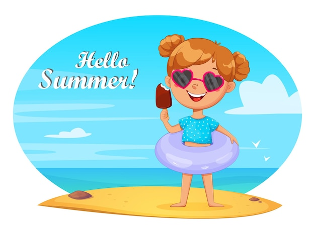 Personagem de desenho animado de uma menina bonitinha em um ringue inflável tomando sorvete na praia