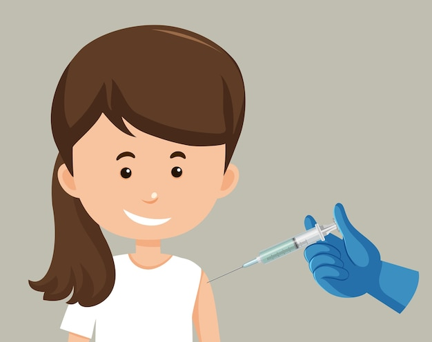 Personagem de desenho animado de uma mulher recebendo uma vacina