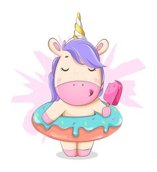 Personagem de desenho animado de unicórnio fofo comendo sorvete