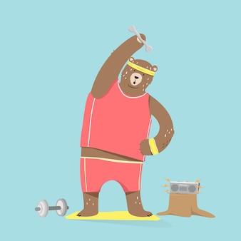 Personagem de desenho animado de urso bonito fazendo exercícios