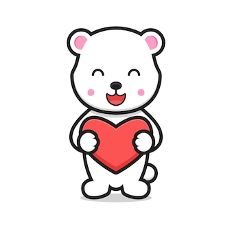 Personagem de desenho animado de urso branco bonito segurando o coração. design isolado no fundo branco
