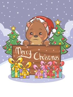 Personagem de desenho animado de urso de mel fofo - ilustração de natal