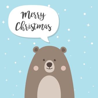 Personagem de desenho animado de urso de natal
