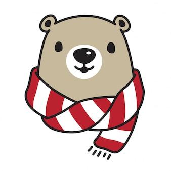 Personagem de desenho animado de urso lenço de urso polar