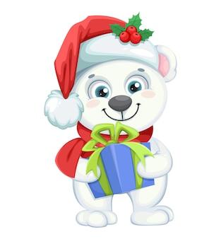 Personagem de desenho animado de urso polar fofo segurando uma caixa de presente