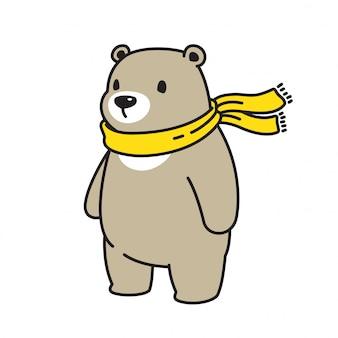 Personagem de desenho animado de urso polar lenço
