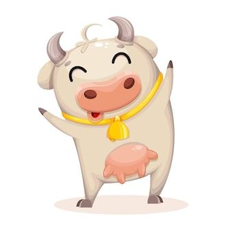 Personagem de desenho animado de vaca bonito. ano novo chinês.