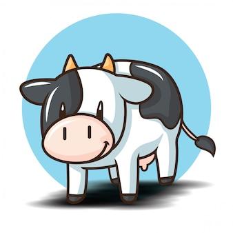Personagem de desenho animado de vaca bonito. conceito de animais dos desenhos animados.