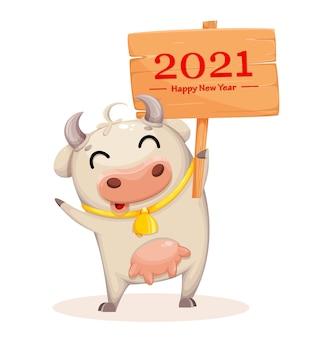 Personagem de desenho animado de vaca fofa segurando um cartaz com saudações