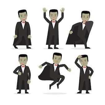 Personagem de desenho animado de vampiro drácula em poses diferentes