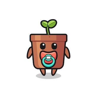 Personagem de desenho animado de vaso de planta de bebê com chupeta, design de estilo fofo para camiseta, adesivo, elemento de logotipo
