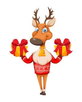 Personagem de desenho animado de veado fofo com suéter quente