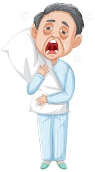 Personagem de desenho animado de velho sonolento em fundo branco