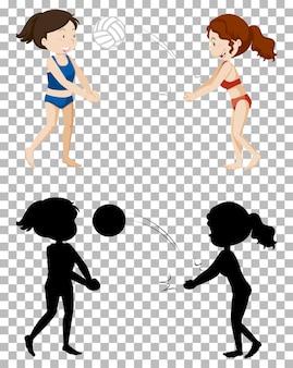 Personagem de desenho animado de verão em transparente e sua silhueta