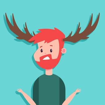 Personagem de desenho animado de vetor corno de um homem surpreso com chifres isolados no fundo.