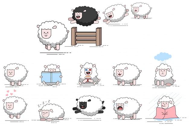 Personagem de desenho animado de vetor de ovelhas engraçado bonito. conjunto de ícones de cordeiros fazenda plana isolados no fundo branco.