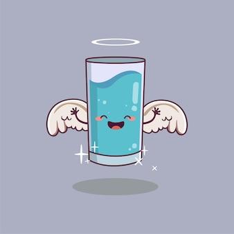 Personagem de desenho animado de vidro bonito usando asas de anjo conceito do dia mundial da água