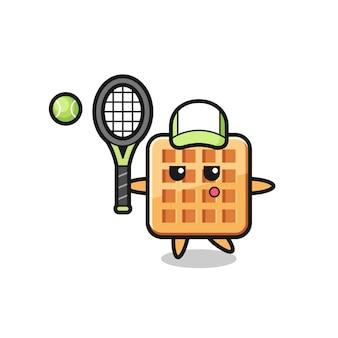 Personagem de desenho animado de waffle como jogador de tênis, design fofo