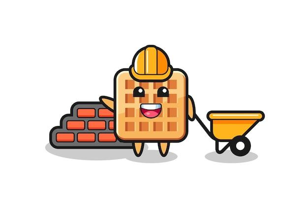 Personagem de desenho animado de waffle como um construtor, design fofo