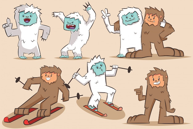 Personagem de desenho animado de yeti e bigfoot.