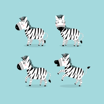 Personagem de desenho animado de zebra fofa.