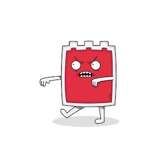 Personagem de desenho animado de zumbi com bolsa de sangue fofo