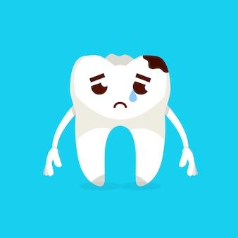 Personagem de desenho animado dente triste. conceito de prevenção de cárie. ilustração vetorial