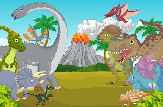 Personagem de desenho animado dinossauro com vulcão