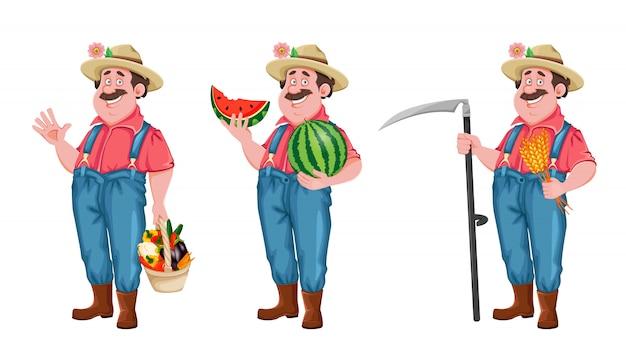 Personagem de desenho animado do agricultor, conjunto de três poses