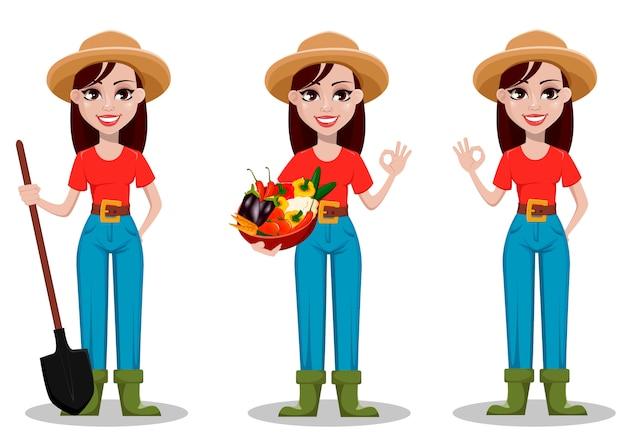 Personagem de desenho animado do agricultor feminino