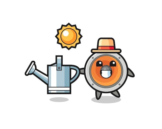 Personagem de desenho animado do alto-falante segurando o regador, design de estilo fofo para camiseta, adesivo, elemento de logotipo