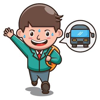 Personagem de desenho animado do aluno correndo depois do ônibus escolar. vetor livre