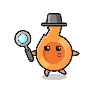 Personagem de desenho animado do apito pesquisando com uma lupa, design fofo
