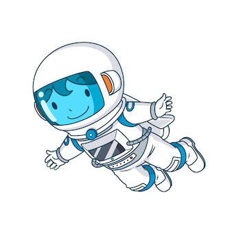 Personagem de desenho animado do astronauta flutuando, ilustração.