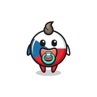 Personagem de desenho animado do bebê crachá da bandeira da república checa com chupeta, design de estilo fofo para camiseta, adesivo, elemento de logotipo