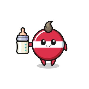 Personagem de desenho animado do bebê do emblema da bandeira da letônia com garrafa de leite, design de estilo fofo para camiseta, adesivo, elemento de logotipo