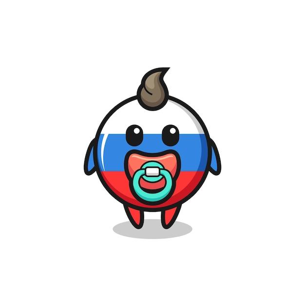 Personagem de desenho animado do bebê emblema da bandeira da rússia com chupeta, design de estilo fofo para camiseta, adesivo, elemento de logotipo