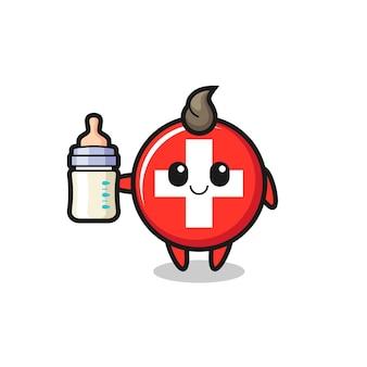 Personagem de desenho animado do bebê suíço bandeira distintivo com garrafa de leite, design de estilo fofo para camiseta, adesivo, elemento de logotipo