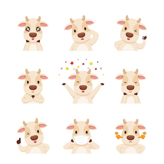 Personagem de desenho animado do boi, conjunto de emoticons, ano do boi, animal, expressão, emoção