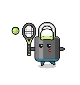 Personagem de desenho animado do cadeado como jogador de tênis, design de estilo fofo para camiseta, adesivo, elemento de logotipo