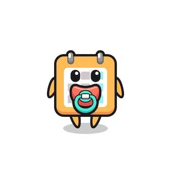 Personagem de desenho animado do calendário do bebê com chupeta, design de estilo fofo para camiseta, adesivo, elemento de logotipo