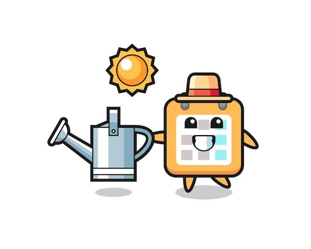 Personagem de desenho animado do calendário segurando o regador, design de estilo fofo para camiseta, adesivo, elemento de logotipo