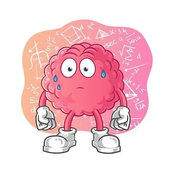 Personagem de desenho animado do cérebro confuso