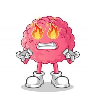 Personagem de desenho animado do cérebro em chamas