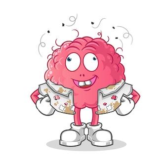 Personagem de desenho animado do cérebro pobre